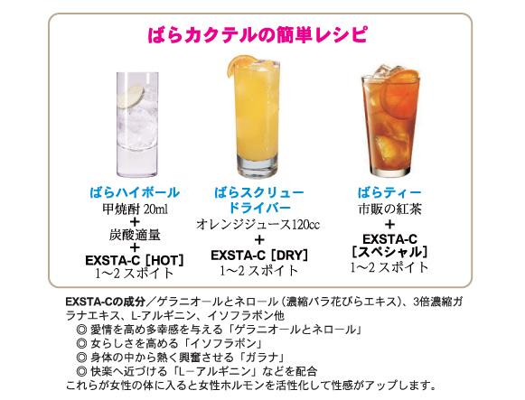 EXSTA-C(エクスタ・シー)の簡単カクテルレシピ